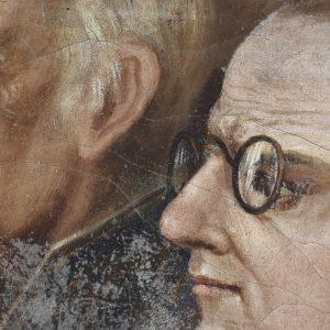 Homem com óculos. Pormenor da pintura a óleo 'D. João I depositando as armas no altar da Senhora da Oliveira após a batalha de Aljubarrota'. Século XVII.