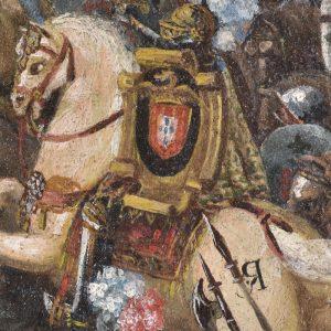 Cavalo do rei. Pormenor da pintura a óleo 'D. João I invocando Senhora da Oliveira na batalha de Aljubarrota'. Século XVII.