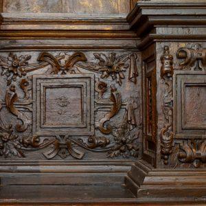 Pormenor do retábulo de de S. Roque. Madeira. Século XVII.