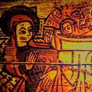 Nascimento do Menino. Pormenor de pintura sobre madeira. Século XV.