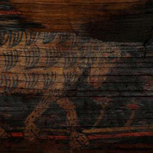 Animal quadrúpede. Pormenor de pintura sobre madeira de asna de teto. Século XV.