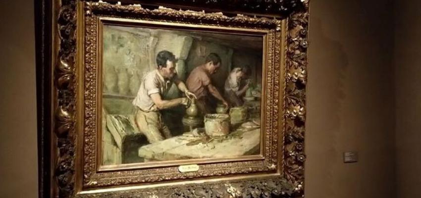 """Pintura """"Os Oleiros"""", de José Malhoa. Exposição temporária de arte contemporânea."""