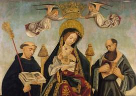 Virgem do Leite entre São Bento e São Jerónimo. Pintura a óleo sobre madeira. Século XVI.