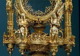 Anjos músicos. Pormenor da custódia em parat dourada. Século XVI.