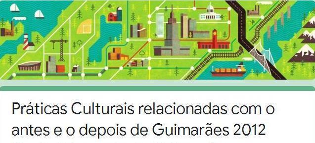 Cartaz de inquérito online sobre práticas culturais durante Guimarães 2012.