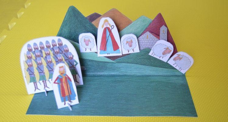 Imagem do teatrinho de papel sobre a Lenda de Santa Catarina da Penha
